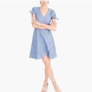 J. Crew Faux Wrap Chambray Ruffled Dress Size 2